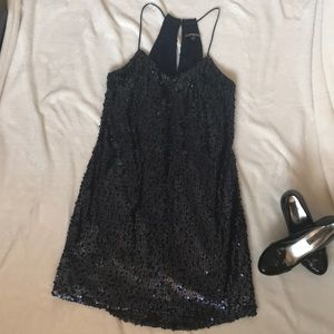 Express mini navy sequined dress size xs